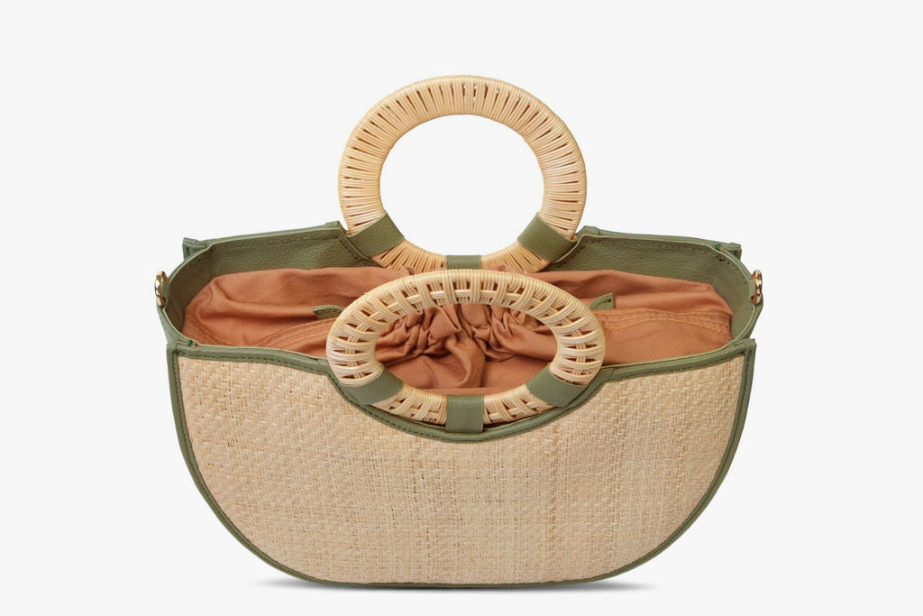 Nala Leather Trimmed Woven Straw Bag