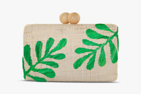 Noreen Embroidered Straw Clutch Bag