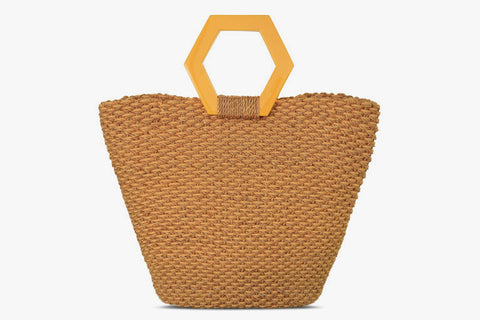 Paloma Woven Straw and Cotton-Cord Handbag