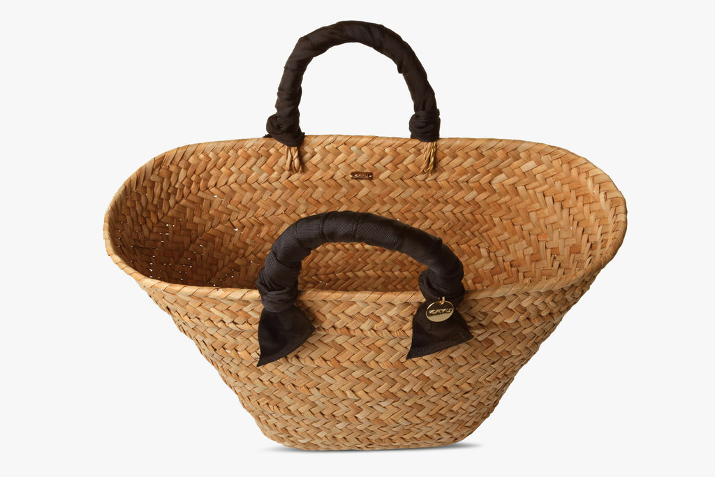 Rosie Woven Straw Ribbon-Handle Tote