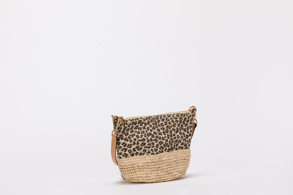 Rumi Raffia-Trimmed Cotton Handbag