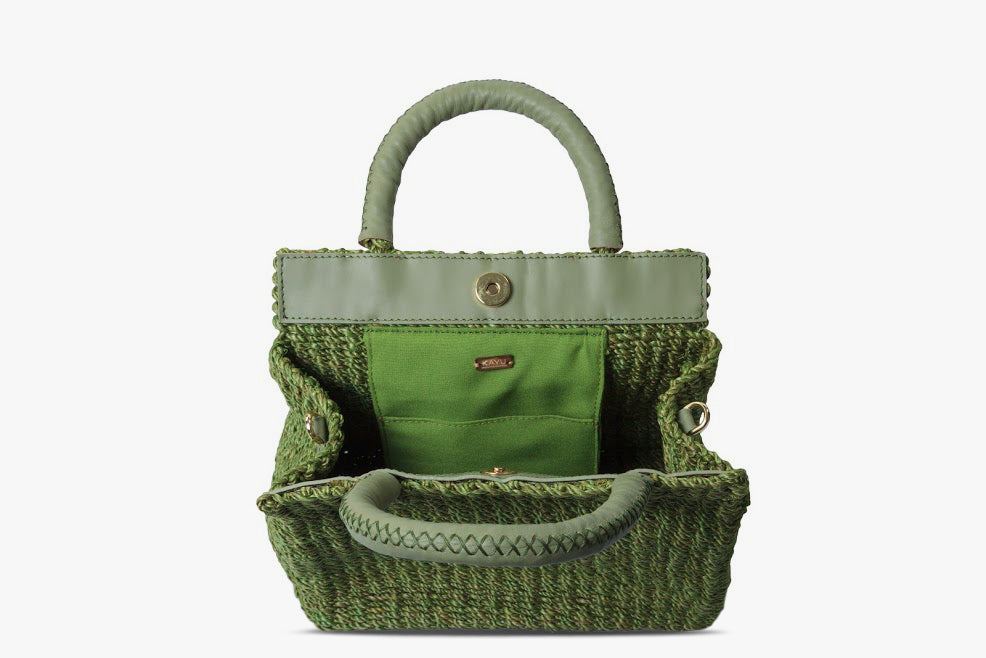 Solana Leather Trimmed Woven Straw Tote