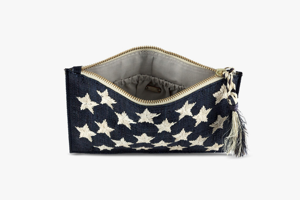 Star Raffia Clutch Bag