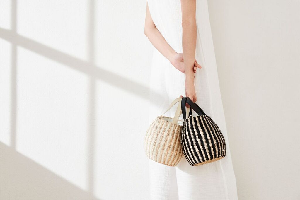 Tayla Yarn Trimmed Straw Bucket Bag