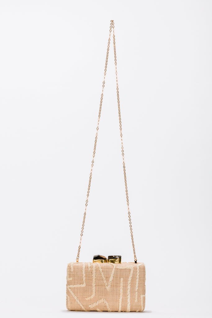 Zara Embroidered Raffia Clutch Bag