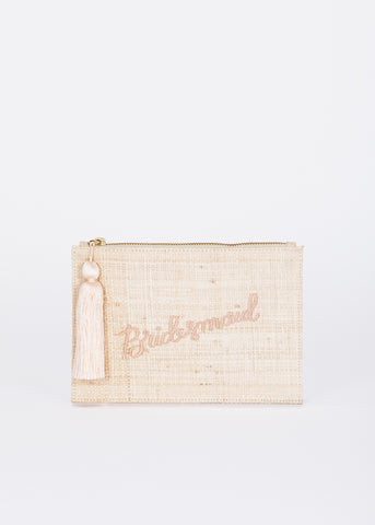 Bridesmaid Straw Pouch Bag