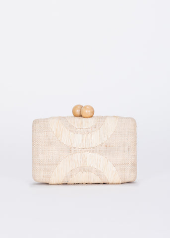 Ottis Embroidered Straw Clutch Bag