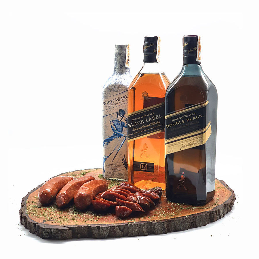 Johnnie Walker Black Label 1L and Double Black 1L + FREE White Walker and Sausage Pack