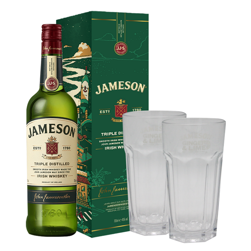Jameson 1L with 2 Highball Glasses