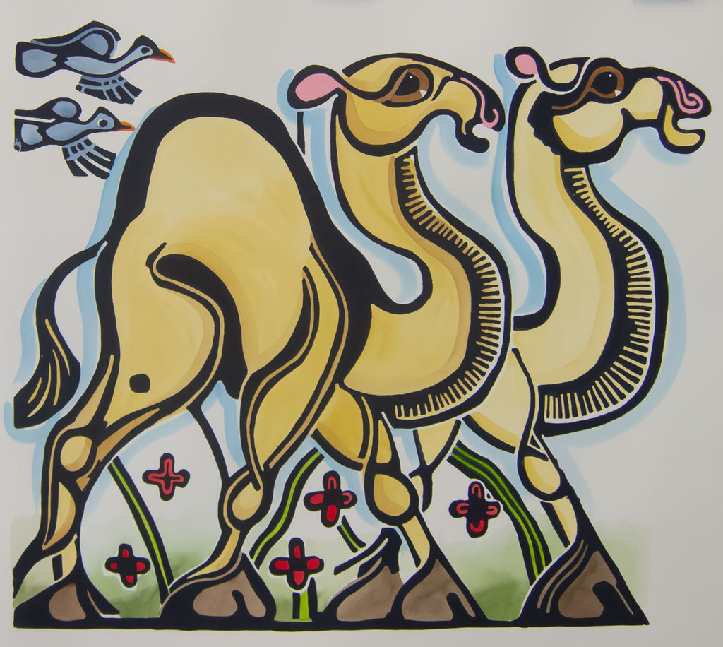Camels 2x2 - painted by Carol Hutcherson