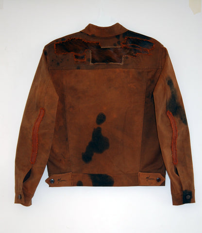 Denim Jacket with cow hide - one of a kind