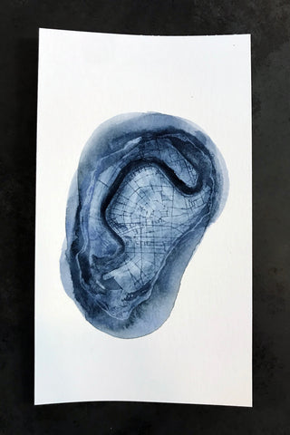 Oyster Map Watercolor Print