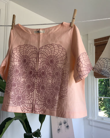 Scallop Peach Linen Blouse