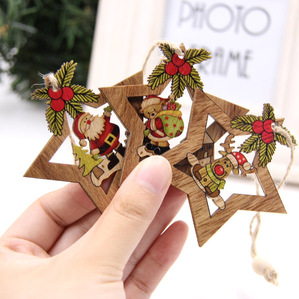 Star Printed Wooden Pendants Ornaments  for Home Christmas Party Decorations