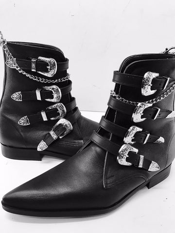 4 Strap Cowboy Buckle Winklepicker Boots with Chain