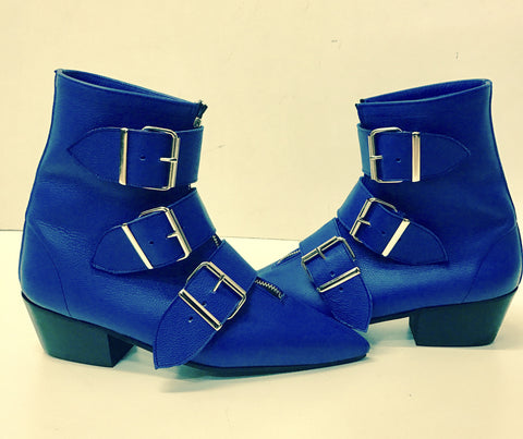 Original Pikes - Cuban Heel 3 Big Belt Boots in Blue Leather