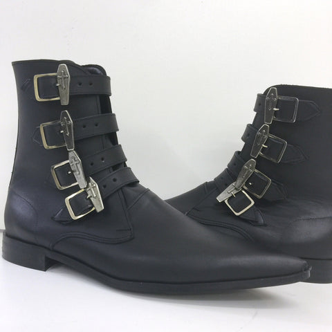 4 Strap Coffin Buckle Winklepicker Boots