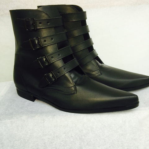4 Strap Black Buckle Winklepicker Boots