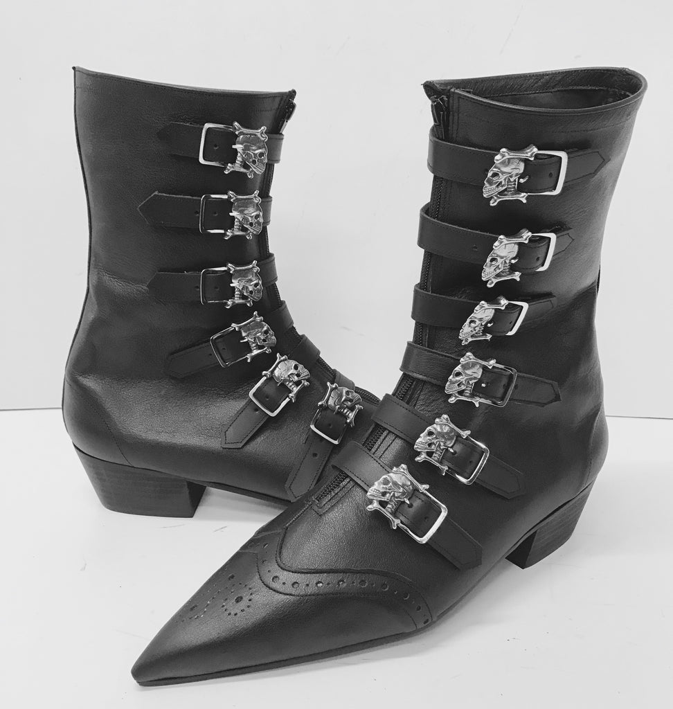 Original Pikes 6 Skull Cuban Heel Boots with Brogue Detail