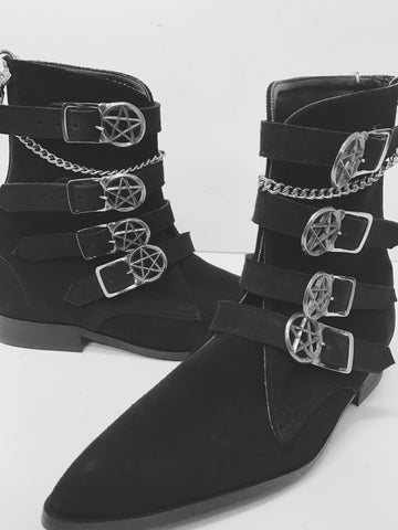 4 Strap Pentagram Buckle Winklepicker Boots with Chain