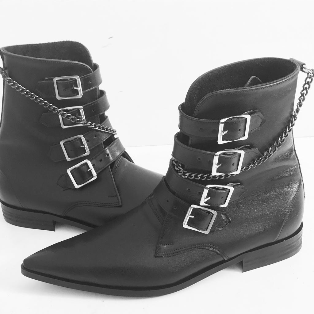 4 Strap Plain Buckle Winklepicker Boots with Chain