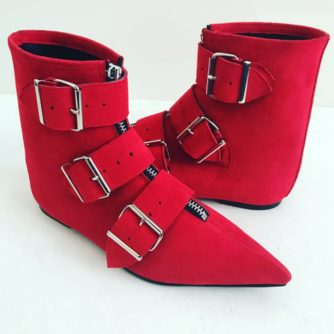 Original Pikes - 3 Big Belt Boots in Red Suede