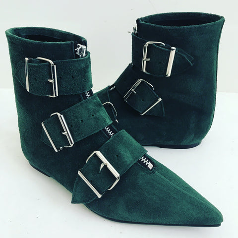 Original Pikes - 3 Big Belt Boots Green Suede