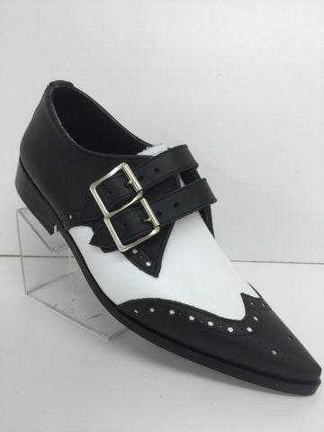 Bugsy Brogue Winklepicker Shoe with Buckle in Black/White Leather