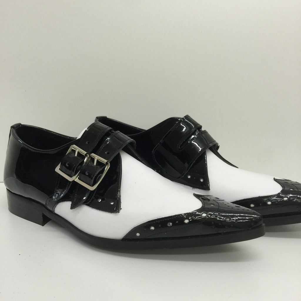 Bugsy Brogue Winklepicker Shoe with Buckle in Black Patent/White Leather