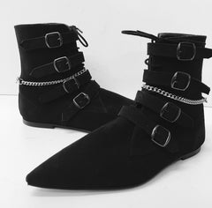 Original Pikes 4 Black Buckles with Laces and Chain