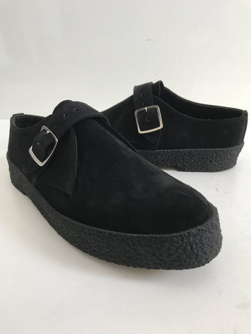 Chukka Buckle Playboy Shoes in Black Suede