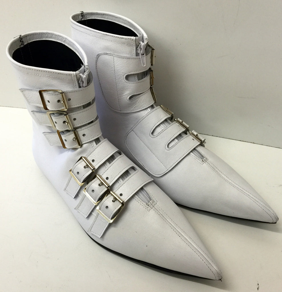 Original Pikes -6 Buckle Boots in White leather