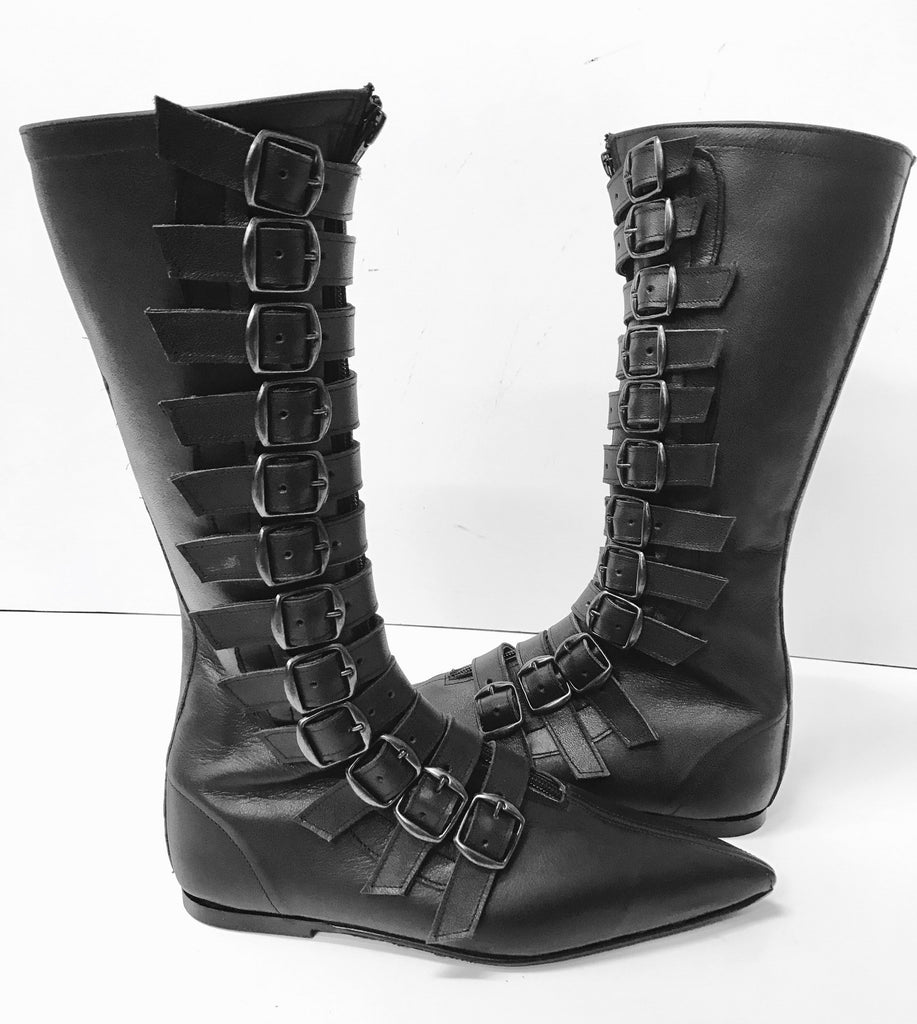 Original pikes- 12 Black Buckle Boots