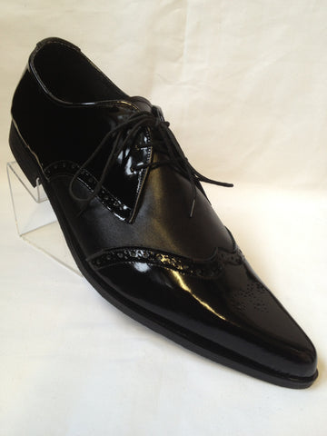 Bugsy Brogue Winklepicker Shoes in Black Patent Leather/Black Suede