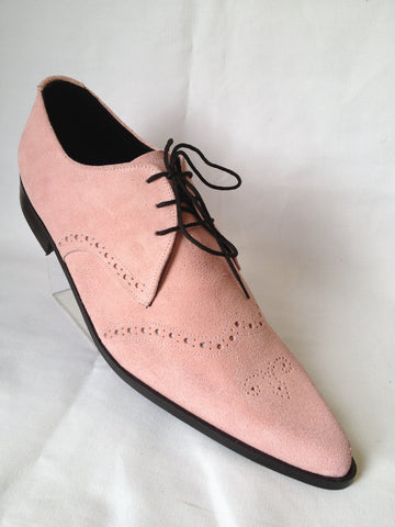 Bugsy Brogue Winklepicker Shoes in Pink Suede