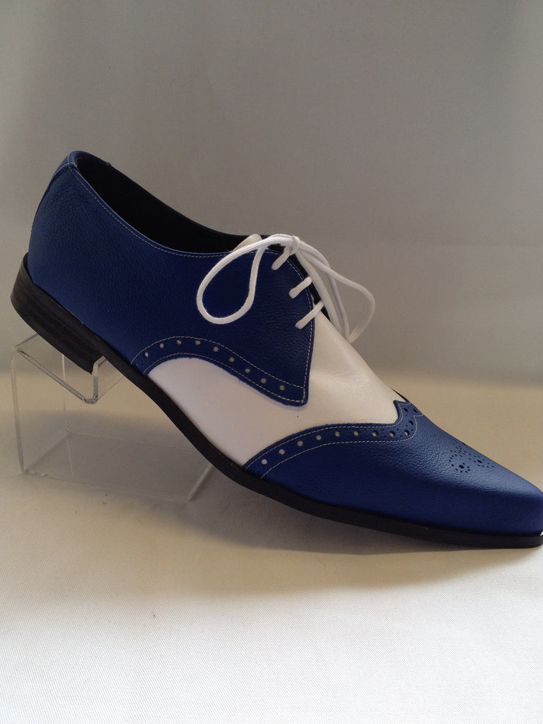 Bugsy Brogue Winklepicker Shoe In Blue/White Leather