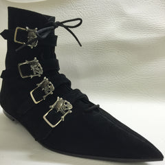Original Pikes- 4 Skull Buckle Boots/Laces