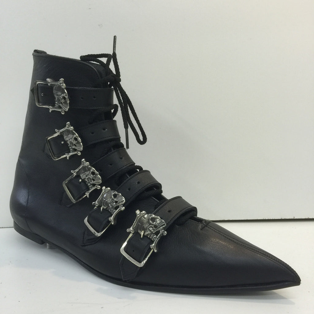 Original Pikes- 5 Skull Buckle Boots/Laces