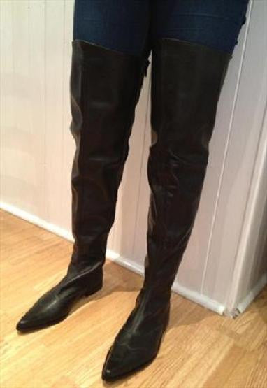 Thigh Length Winklepicker Boots in Black Leather