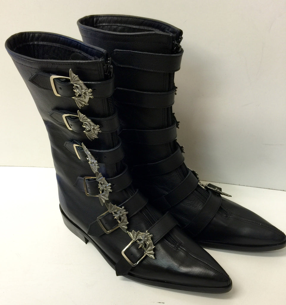 6 Bat Buckle Winklepicker Boots with zip