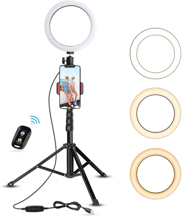 "8"" Selfie Ring Light with Tripod Stand & Cell Phone Holder for Live Stream"