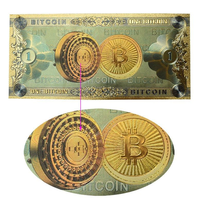 Hot One Bitcoin Banknote Gold Foil BTC Bitcoin coin Plastic cards For Collection