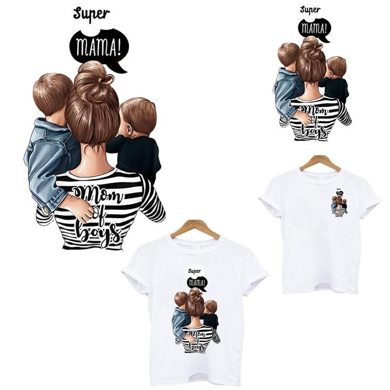 mom of boys stripes heat-sensitive patches thermo stickers on clothes iron on transfers for clothing flower applique custom pa