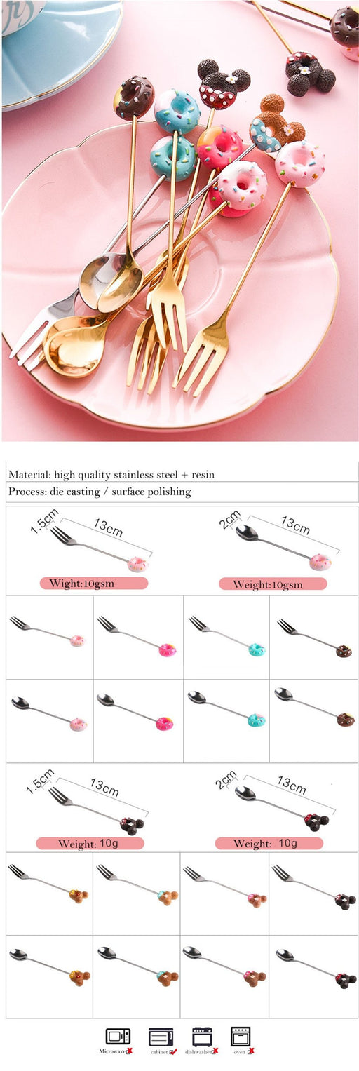 1PC Stainless Steel Mickey Doughnut Spoon Fork