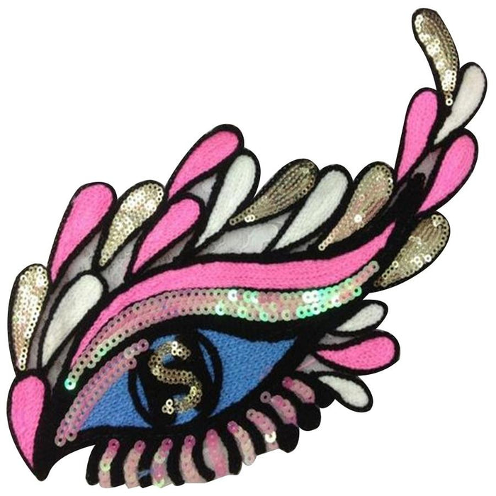 T shirt Women patch DIY sequins 19cm eye eyelash deal with it biker patches for clothing stickers 3d t shirt mens free shipping
