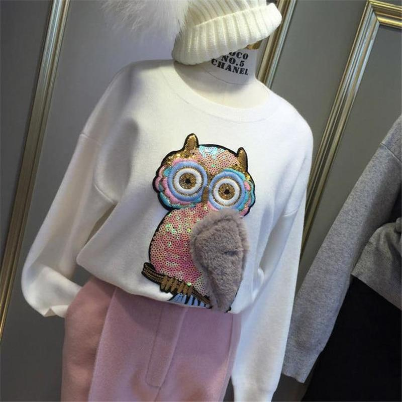 Owl Plush Patches for clothing T shirt Women 26cm bird Sequined Sequins T-shirt Womens Fashion Tops Shirt Girl Patch Clothes