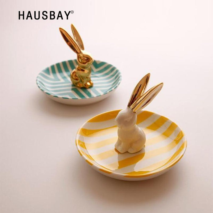 Creative 3D Ceramic Rabbit Dish Jewelry Storage Tray Rings Storage Accessories Dessert Dried Plate Valentine's Day Gifts 1226 AvnRich