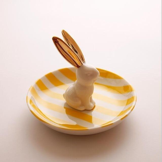 Creative 3D Ceramic Rabbit Dish Jewelry Storage Tray Rings Storage Accessories Dessert Dried Plate Valentine's Day Gifts 1226