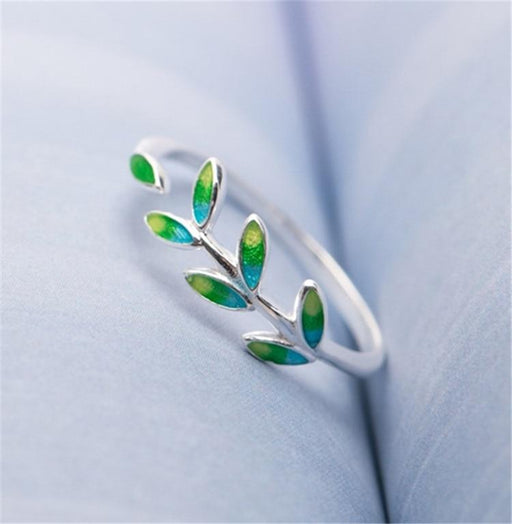 Green Leaf 925 Sterling Silver Ring