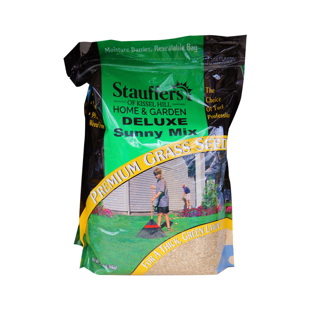 bag of Stauffer Deluxe Sunny Mix grass seed